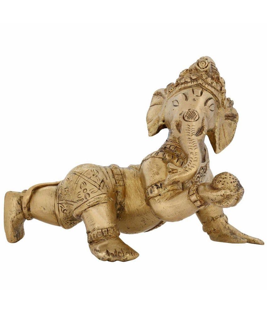Shalinindia Ganesh Murti Religious Icon Statues From India Hindu Elephant God Brass 4 Inches