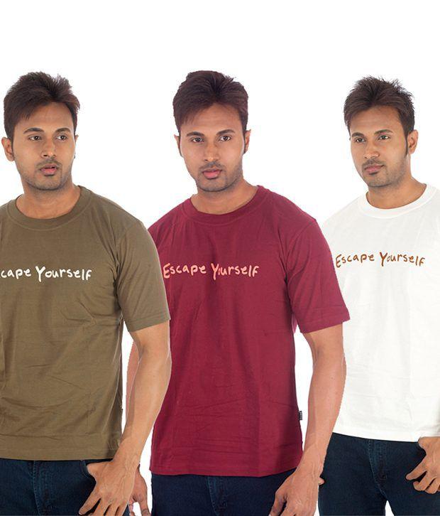 TSG Escape Multi Cotton  T-Shirt(Pack of 3)