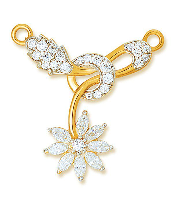18 kt Yellow Gold with CZ Stones 2.43 Grams Tanmania Pendant By Ishtaa