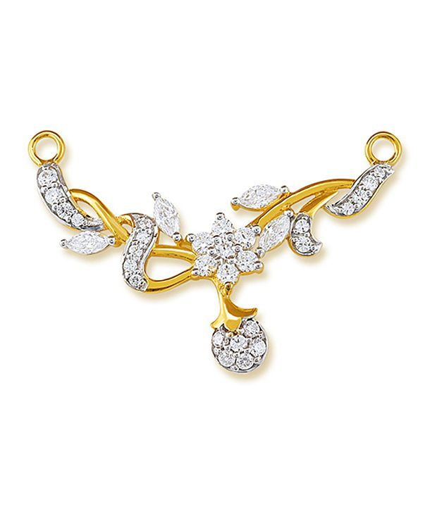18 kt Yellow Gold with CZ Stones 3.12 Grams Tanmania Pendant By Ishtaa