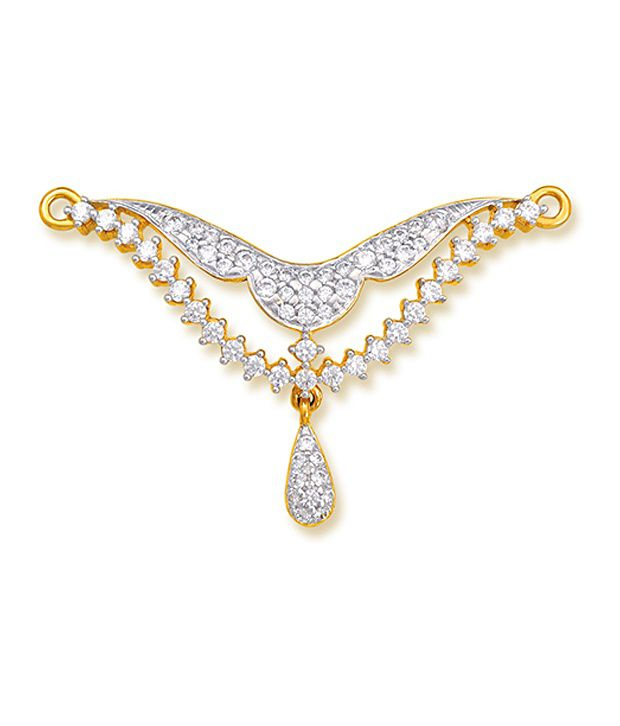 18 kt Yellow Gold with CZ Stones 2.89 Grams Tanmania Pendant By Ishtaa