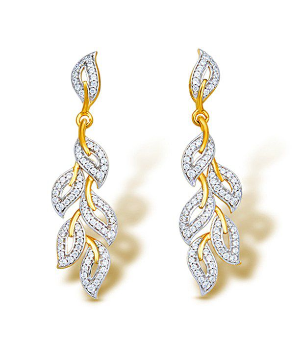 18kt Yellow Gold with CZ Stones 7.38 Grams Earrings By Ishtaa
