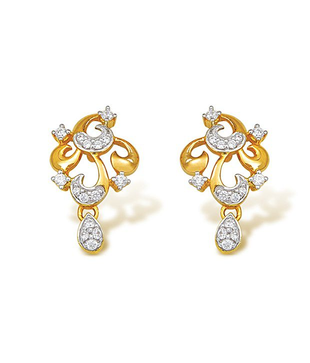 18kt Yellow Gold with CZ Stones 3.43 Grams Earrings By Ishtaa