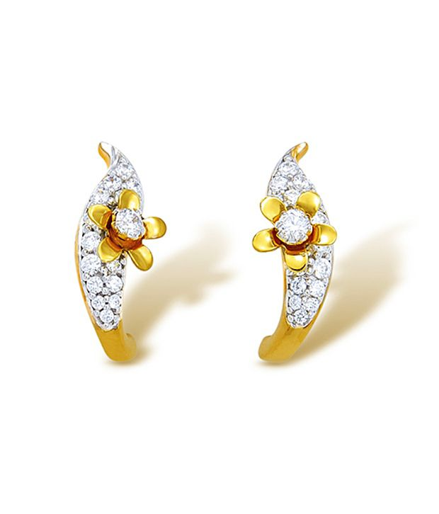 18kt Yellow Gold with CZ Stones 2.89 Grams Earrings By Ishtaa