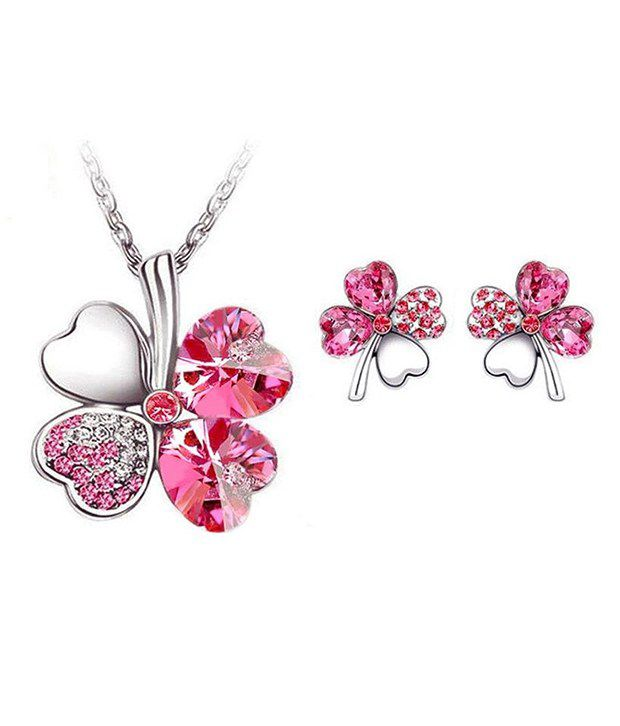 Shining Diva Fashion silver plated pink clover necklace set