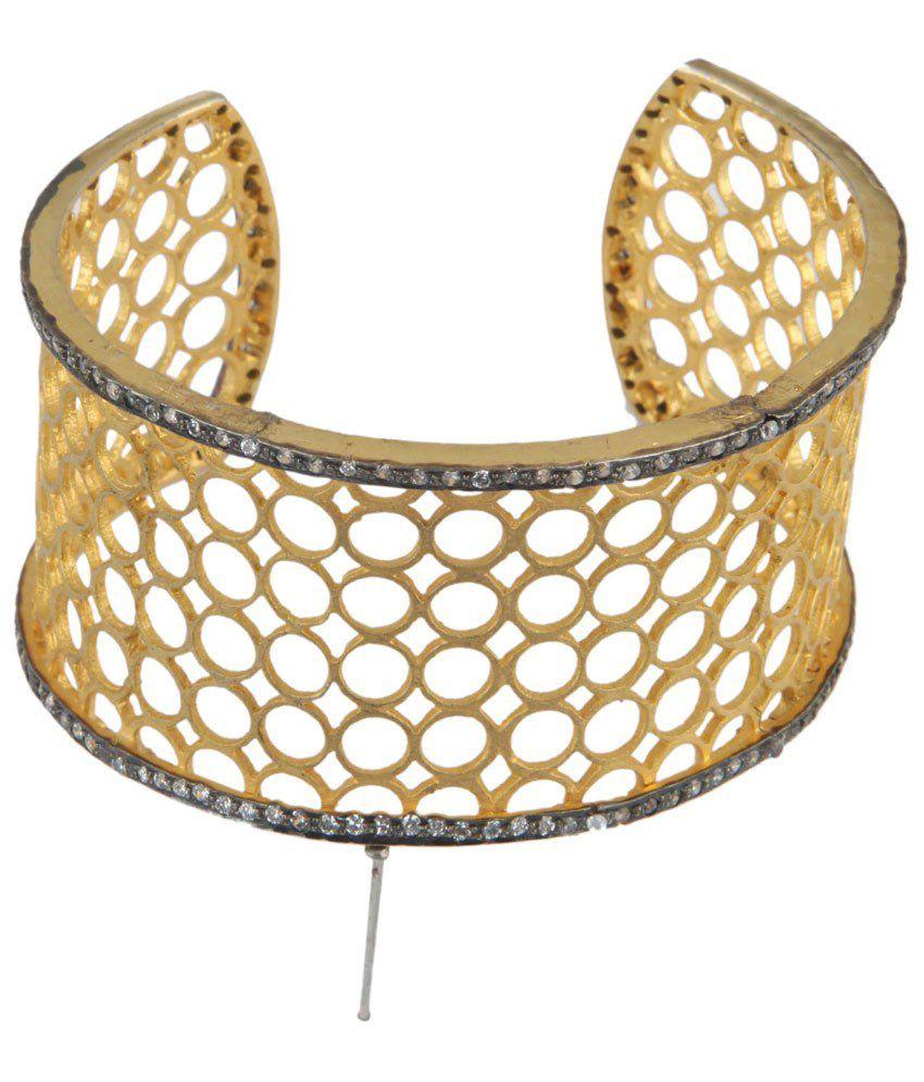 Shri Shyam Baba Jewellers American Diamond Stone Kada Golden