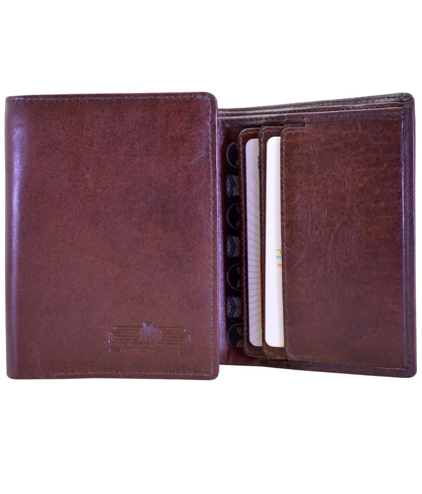 d6a8f07f12f740 Arpera Slim Brown Leather Mens Tri Fold Wallet: Buy Online at Low Price in  India