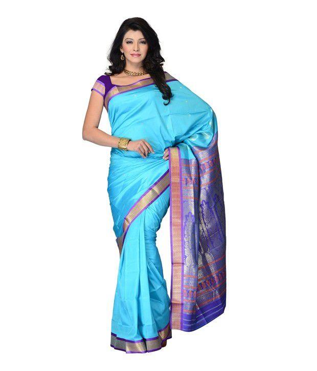 Fabdeal Sky Blue Colored Poly Cotton Jacquard Plain With Jacquard Saree