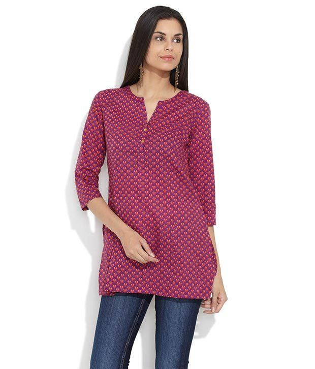 Amari Pink Printed Cotton Medium  Kurti