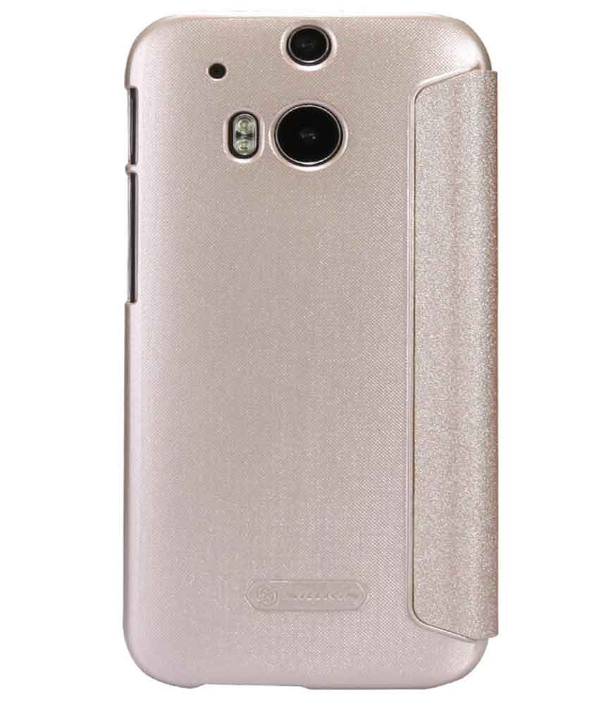 Dmg Nillkin Sparkle Leather Flip Stand Back Case Cover For Htc One M8 (gold) With 16gb Microsd Class 10 And Matte Screen