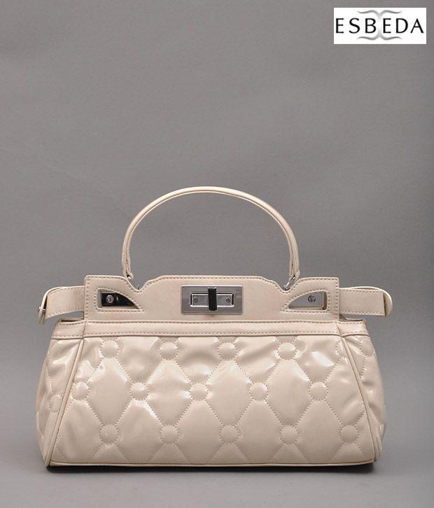 Esbeda Cream Quilted Handbag