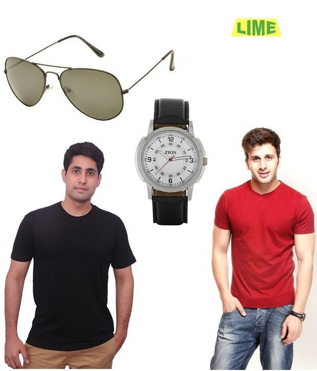 Lime Combo of Black round T shirt and red round T shirt with free sunglass & watch