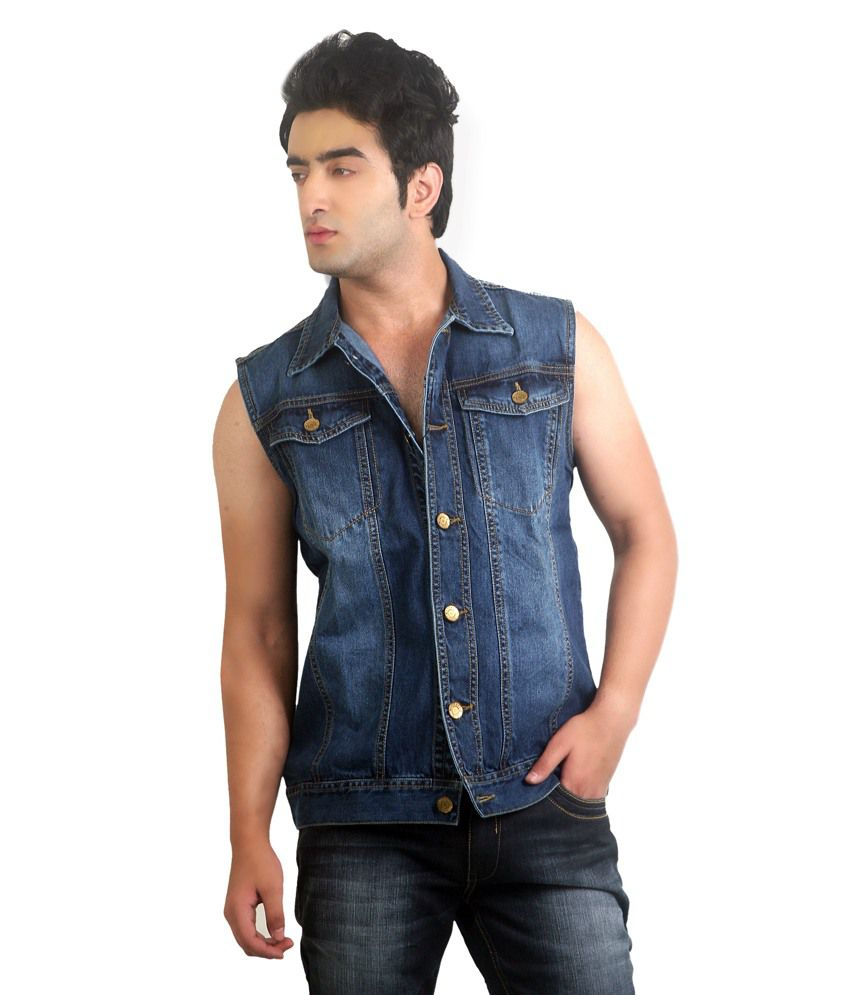 Mens blue denim sleeveless jean jacket – Novelties of modern ...