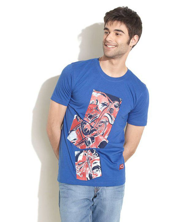 Taanz Blue Cotton  T-Shirt
