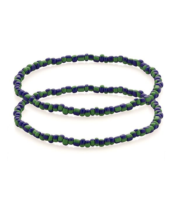 Voylla Anklet With Beads Shaded With Green & Purple