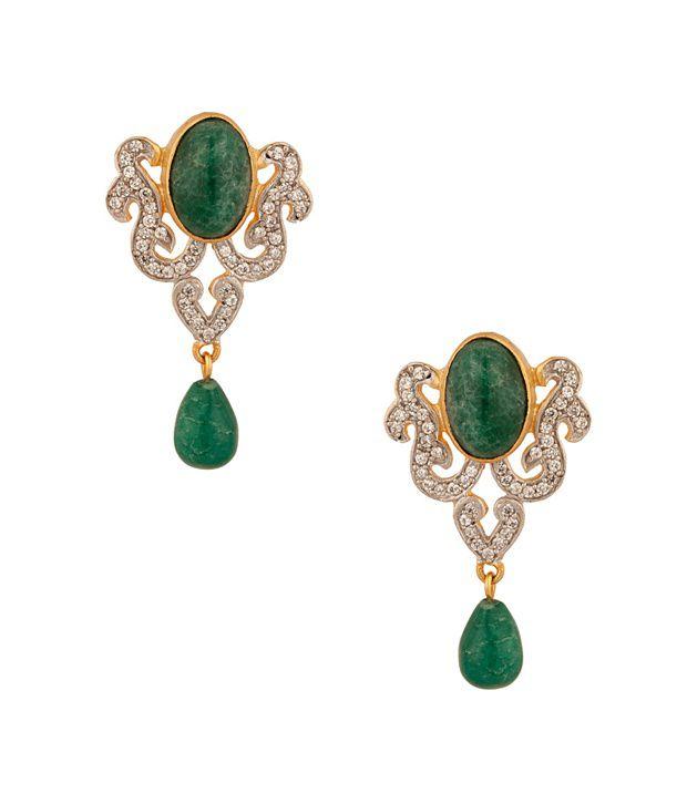 Voylla Drop Earring With Green Onyx Stone
