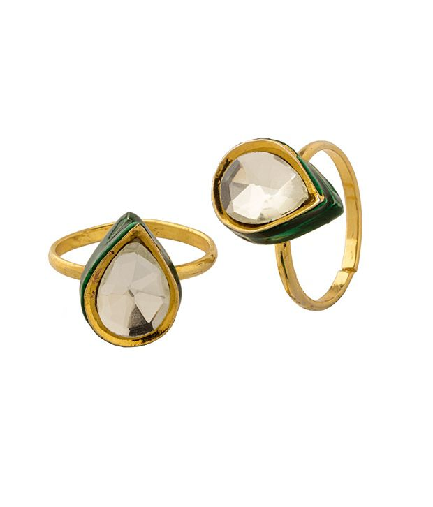 Voylla Toe Ring With Green Color Enamel