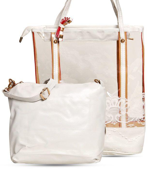 1 Bolzo Adorable White Tote Bag & Sling Bag