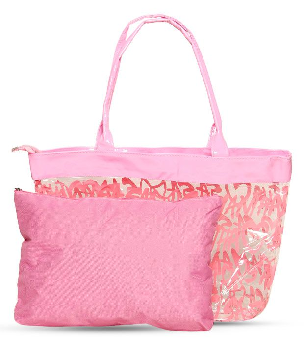 1 Bolzo Bewitching Pink Tote Bag & Pouch Set