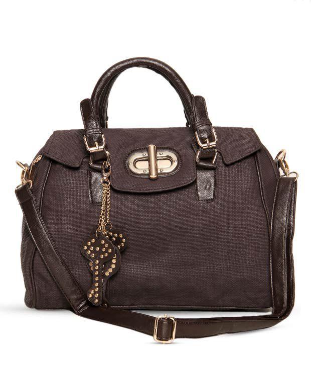 1 Bolzo Chocolate Brown Key Chain Design Handbag