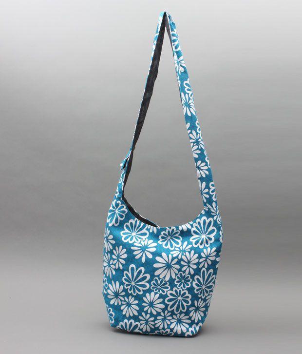 A-maze Sky Blue Floral Print Jhola