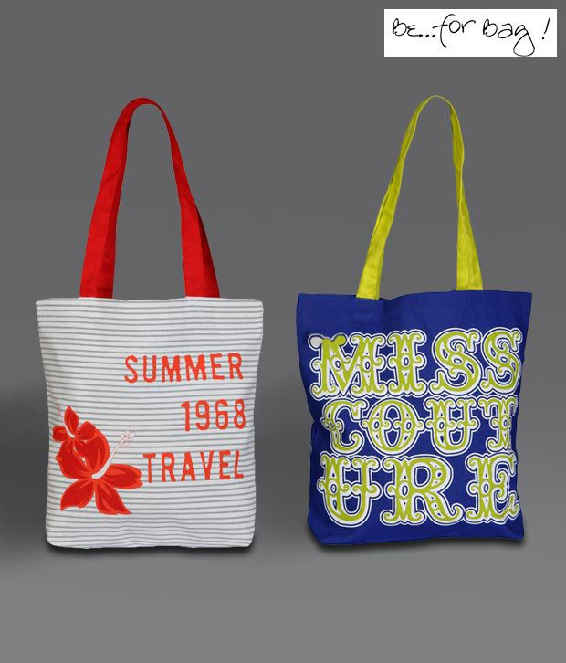 B4Bags White & Blue Couture Summer Canvas Combo