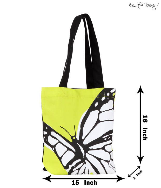 Be For Bag Naive Green Butterfly Print Bag