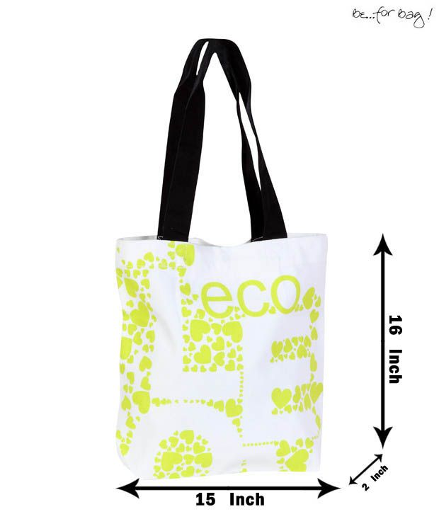Be For Bag Vivacious White & Green Handbag