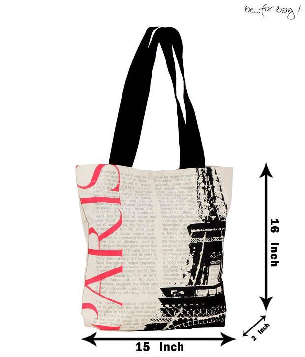 Be For Bag White & Black Eiffel Tower Printed Handbag