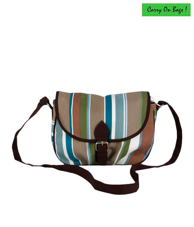 Carry On Bags Brown Mutli Strip Sling Bag