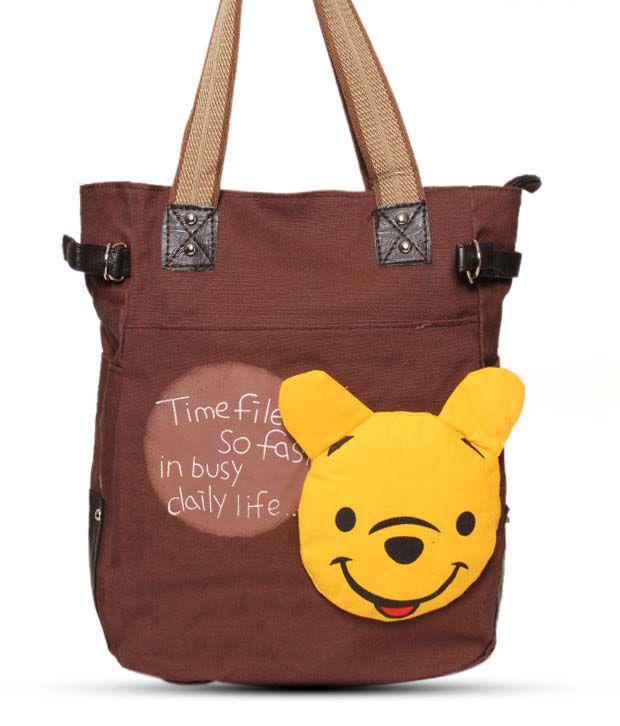 Cyndrella Brown & Yellow Winnie The Pooh Handbag
