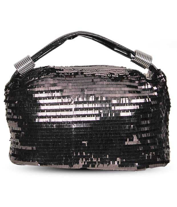 Cyndrella Elegant Black Sequinned Handbag