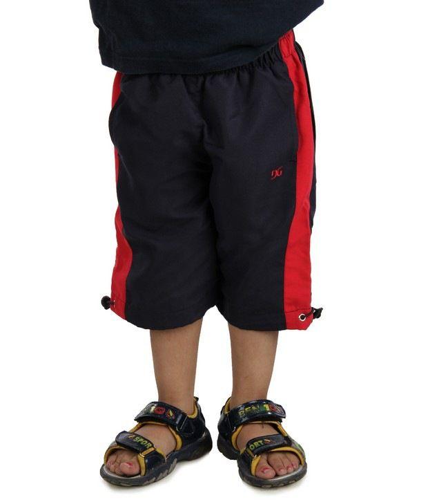 DAZZGEAR Black Color Elasticated waistband Capri For Kids