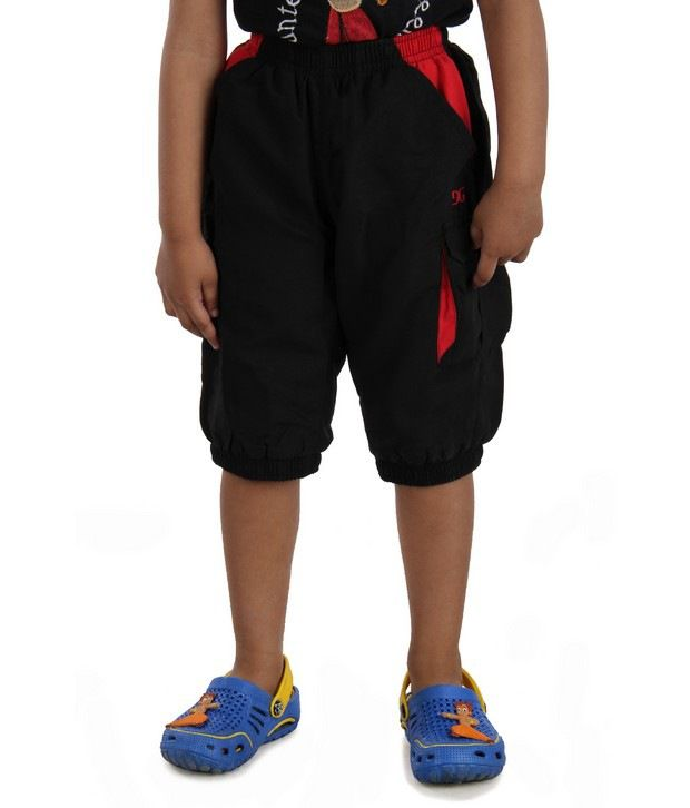DAZZGEAR Black Color Elasticated waistband Cargo Pocket Capri For Kids