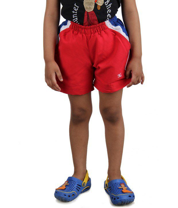 DAZZGEAR Red Color Elasticated waistband Cargo Pocket Shorts For Kids