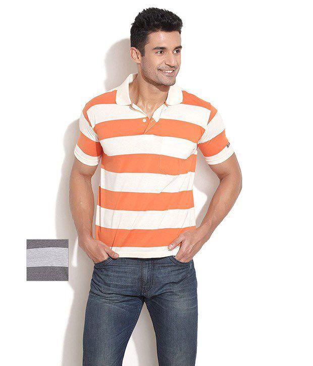 Duke Orange Polyester  T-Shirt(Pack of 2)