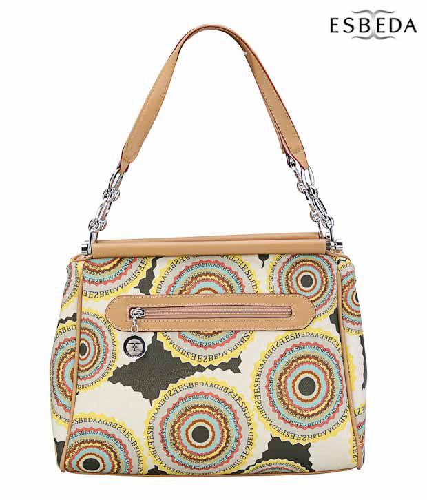 Esbeda Chic Cream & Beige Circular Print Handbag