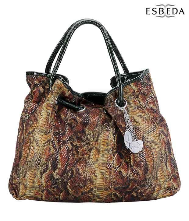 Esbeda Green Snake Print Handbag