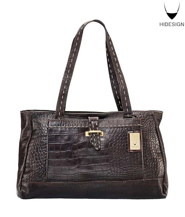 Hidesign Brown Croc Print Adorable Handbag