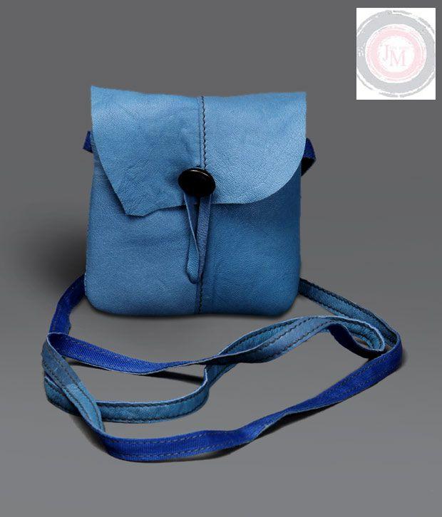 JM Blue Buttoned Mini Sling Bag