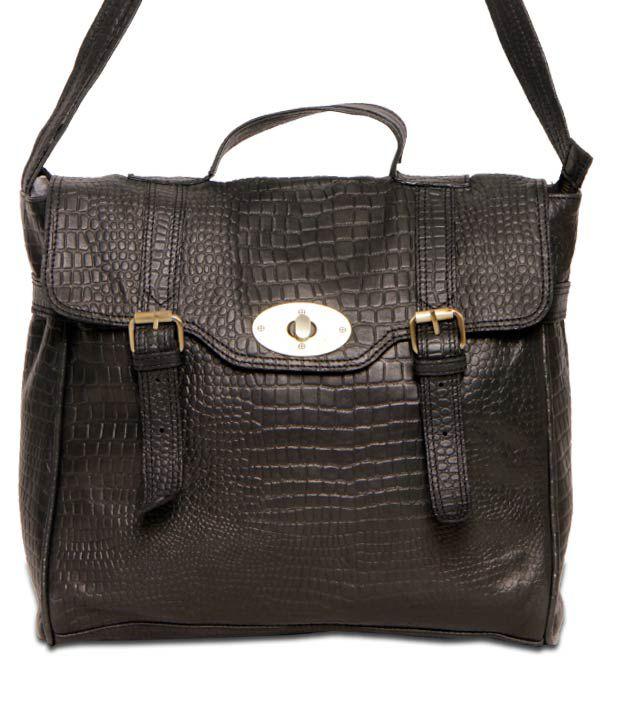 JM Classic Black Croc Print Handbag