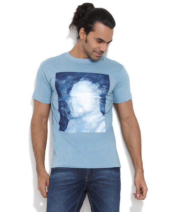 Le Bison Blue Cotton  T-Shirt