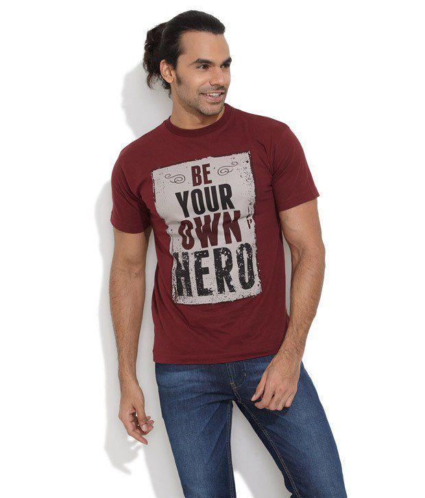Le Bison Maroon Cotton  T-Shirt