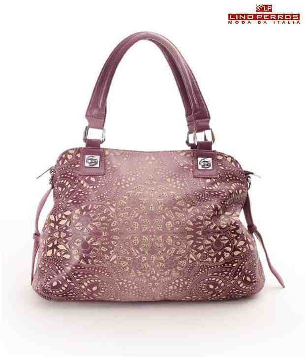 Lino Perros Beautiful Pink Self Patterned Handbag