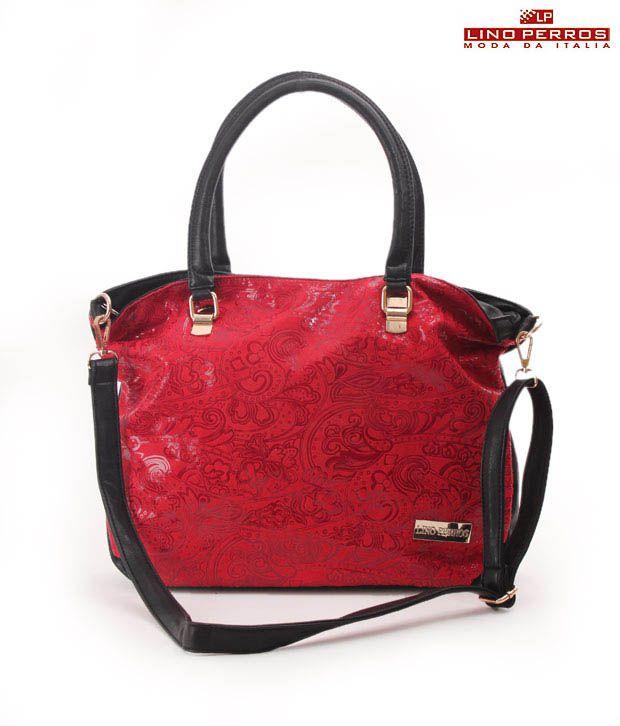 Lino Perros Red Ravishing Jacquard Finish Handbag