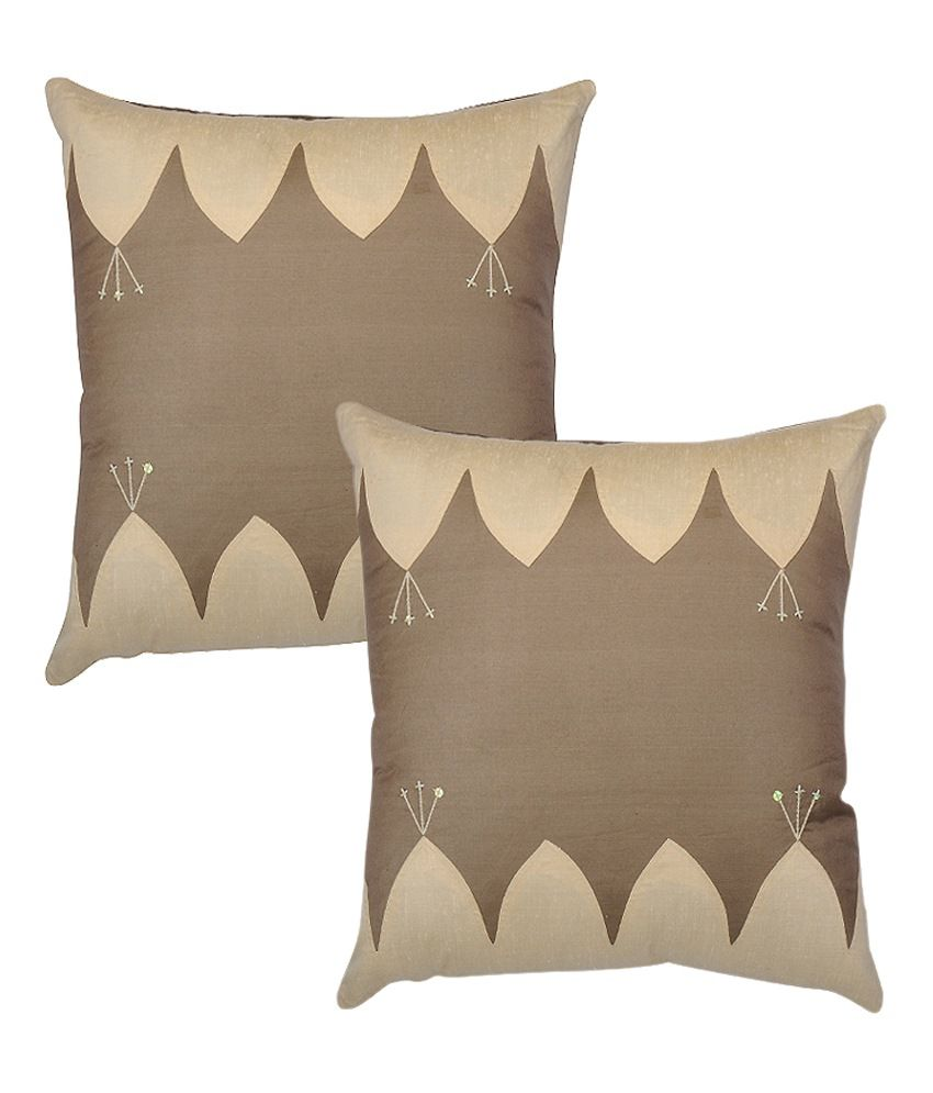 Rajrang Polydupion Designer Cushion Covers - (16 X 16 Inches) (Set of 2 Pcs)