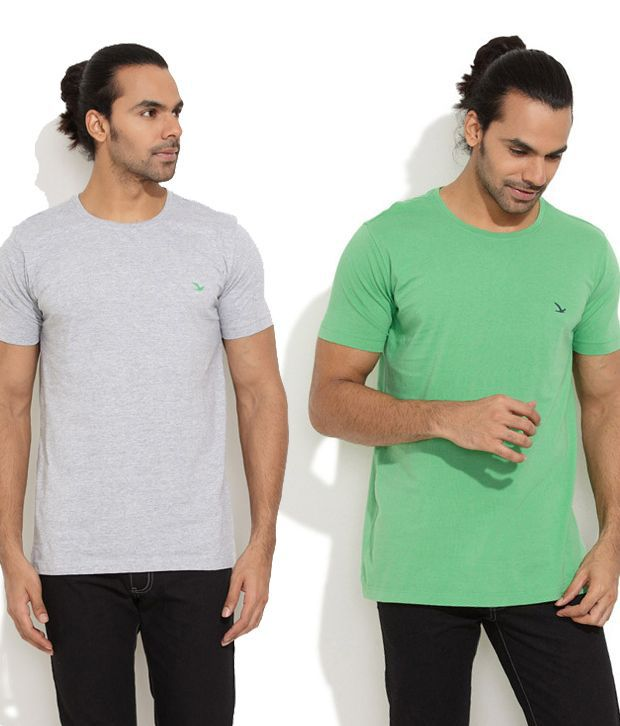 Ruggers Young Green Cotton  T-ShirtCombo Of 2
