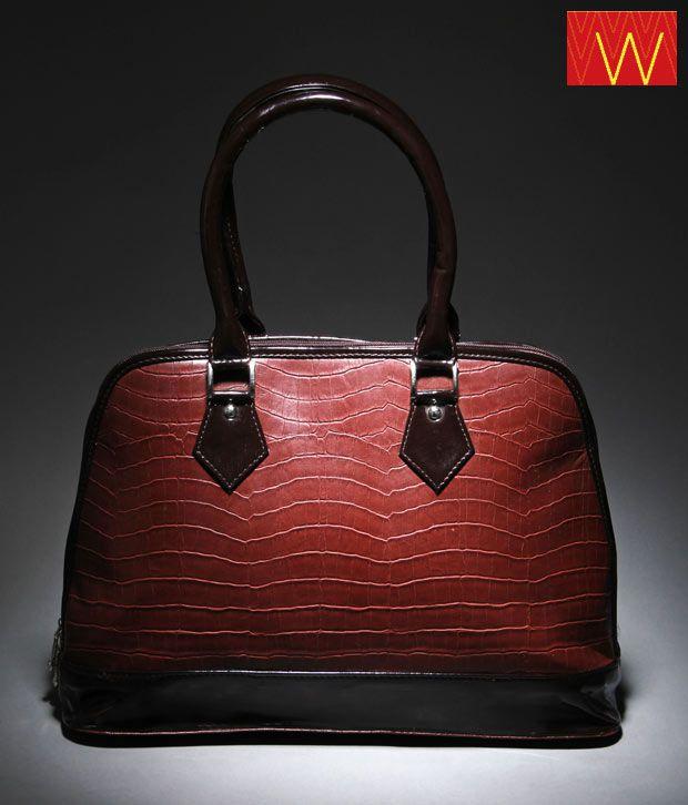 W Brown & Black Croc Print Handbag