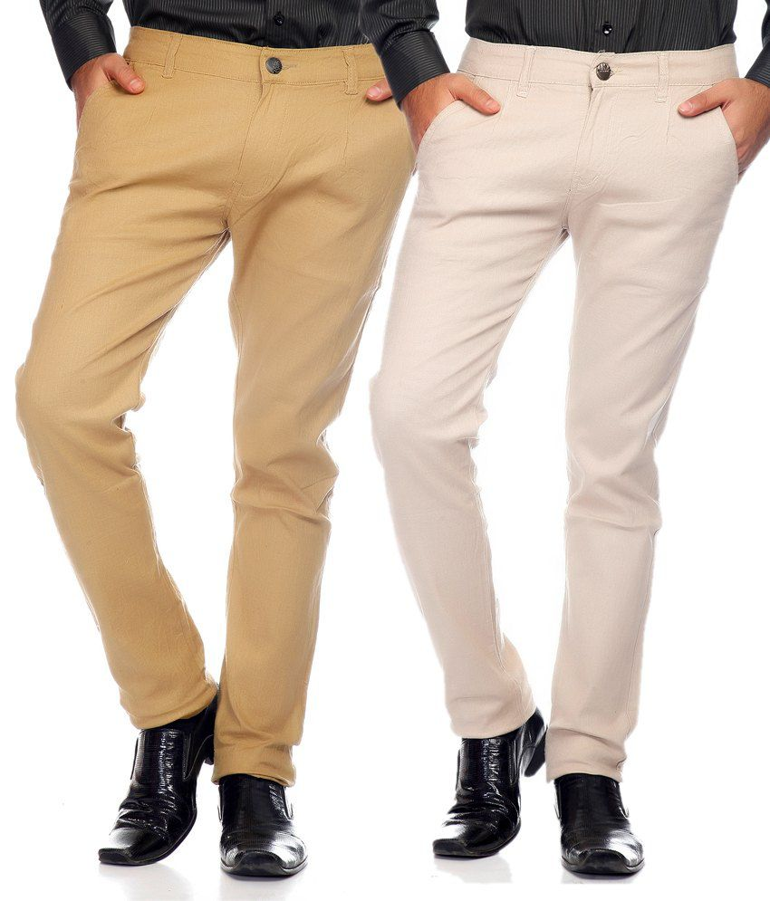 Sam & Jazz Combo Of 2 Multi   Color Cotton Strechable Chinos For   Men's