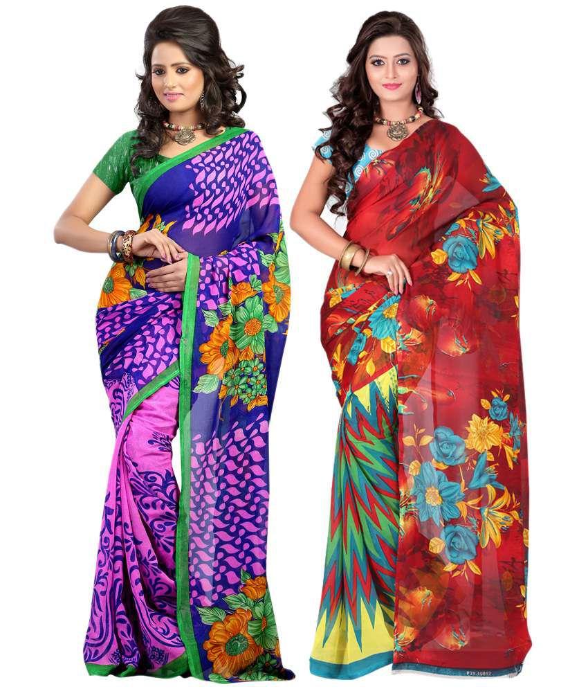 Ansu Fashion Multi Color Faux Georgette Printed Saree With Blouse Piece